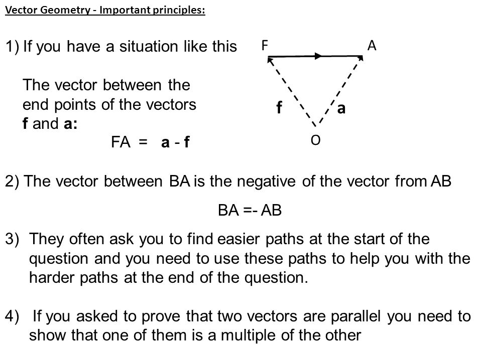 f a If you have a situation like this The vector between the