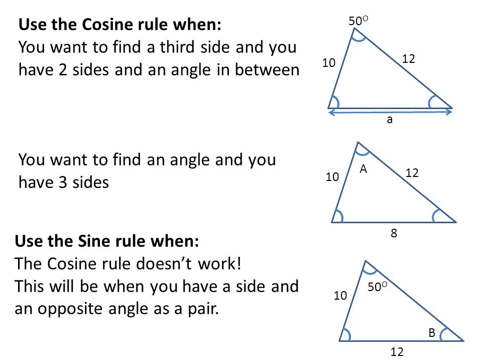 Use the Cosine rule when: