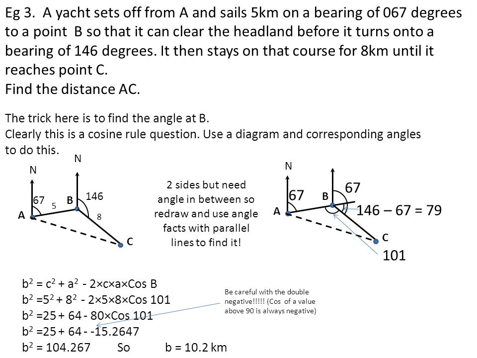 Eg 3. A yacht sets off from A and sails 5km on a bearing of 067 degrees to a point B so that it can clear the headland before it turns onto a bearing of 146 degrees. It then stays on that course for 8km until it reaches point C.