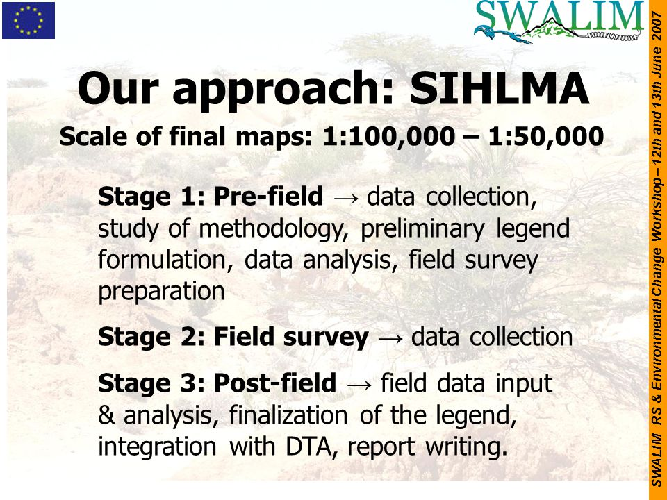Our approach: SIHLMA Scale of final maps: 1:100,000 – 1:50,000