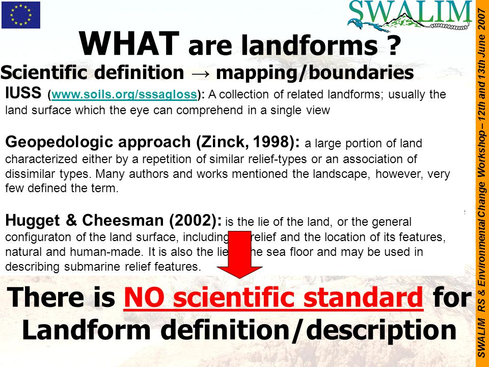 WHAT are landforms Scientific definition → mapping/boundaries.
