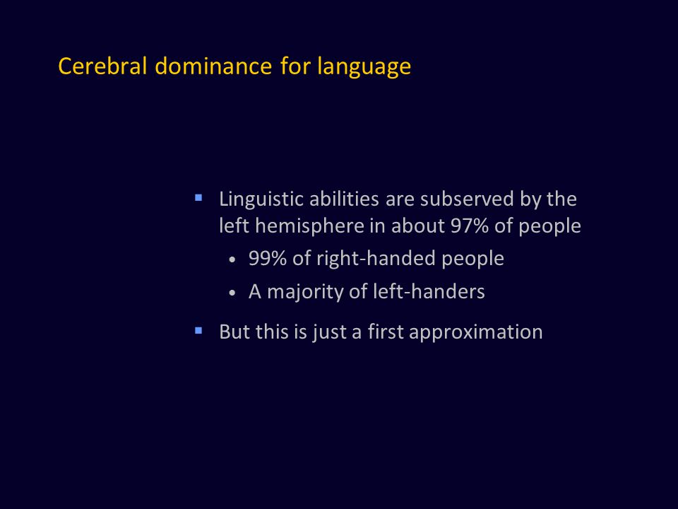 Cerebral dominance for language