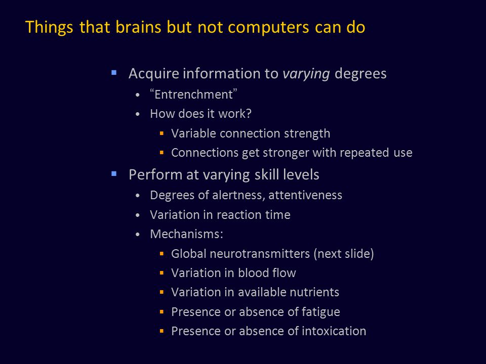 Things that brains but not computers can do