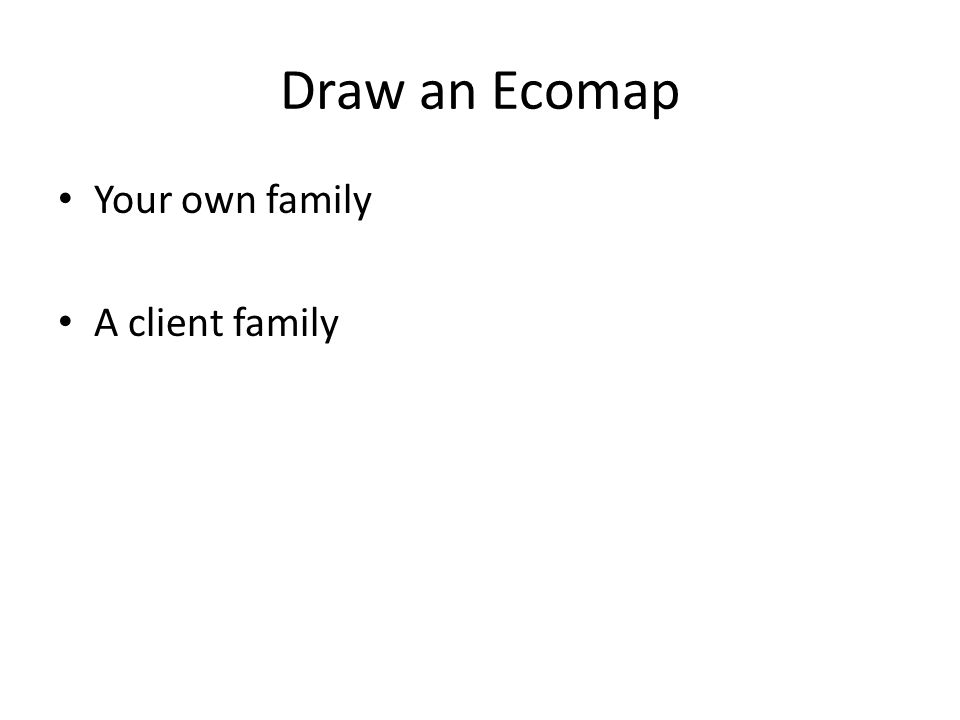 Draw an Ecomap Your own family A client family