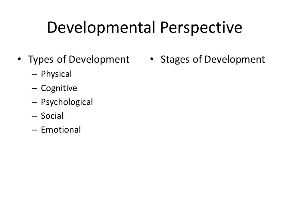 Developmental Perspective