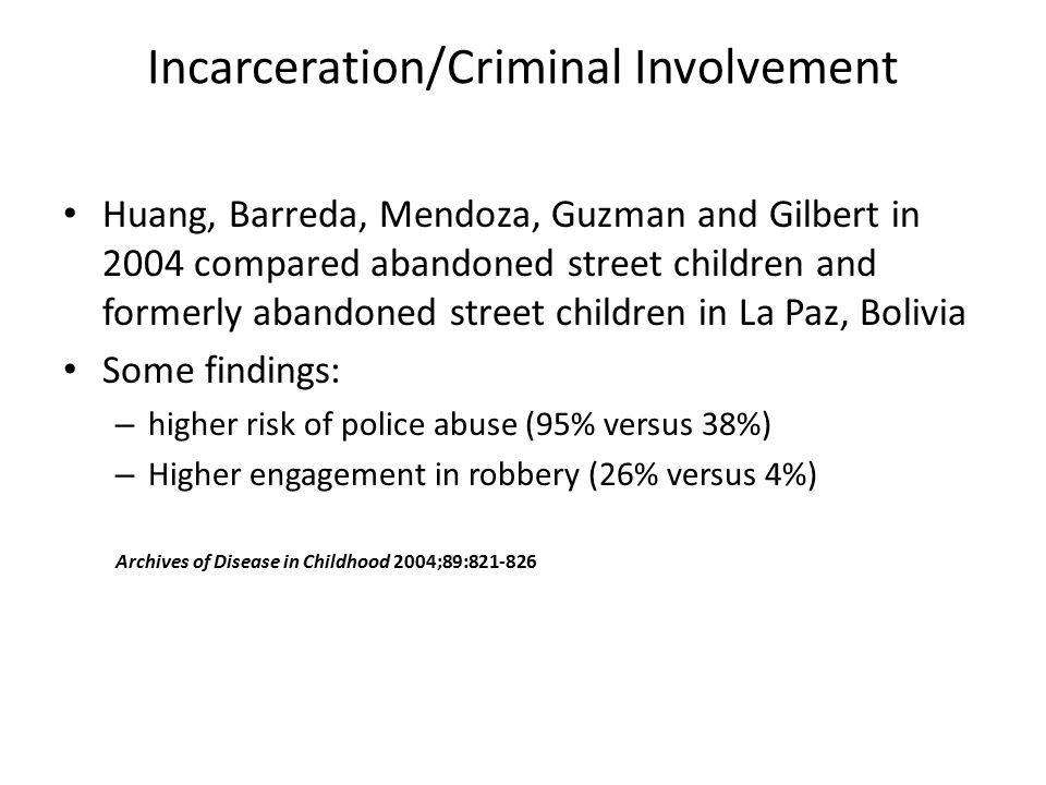 Incarceration/Criminal Involvement