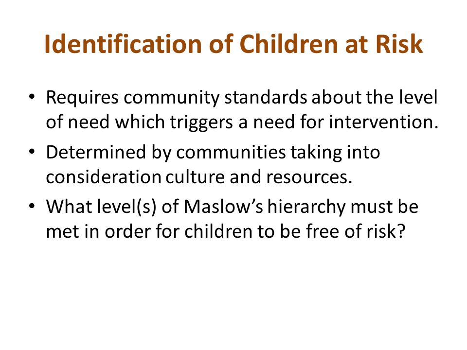 Identification of Children at Risk
