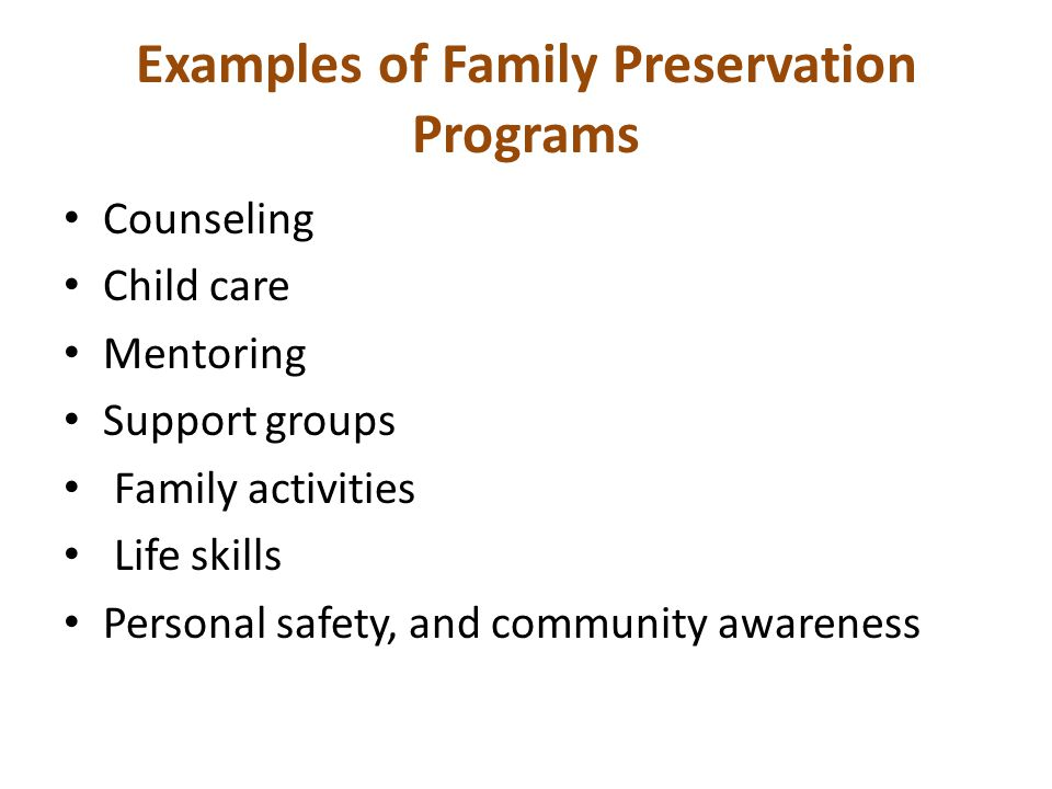 Examples of Family Preservation Programs
