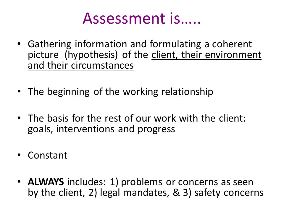 Assessment is….. Gathering information and formulating a coherent picture (hypothesis) of the client, their environment and their circumstances.