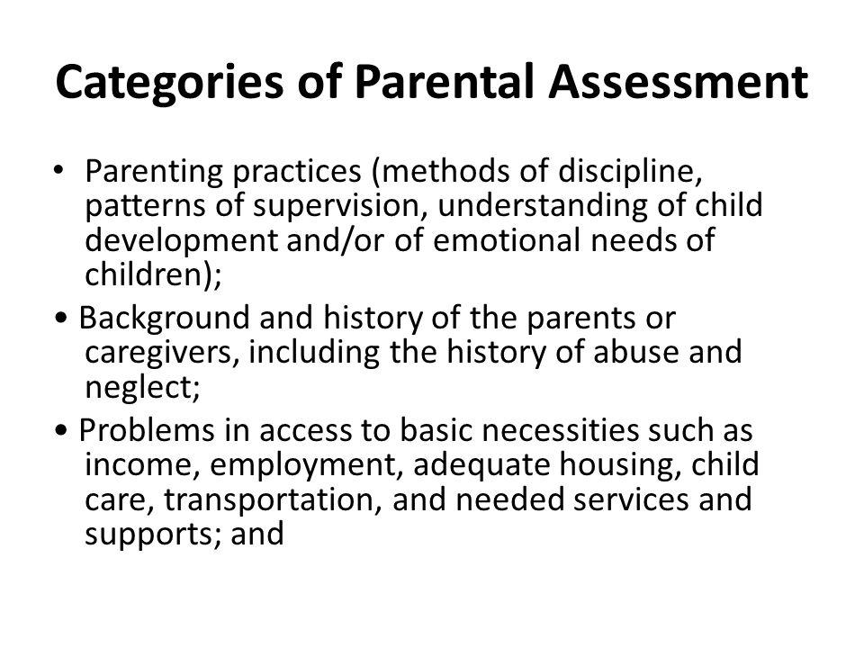 Categories of Parental Assessment