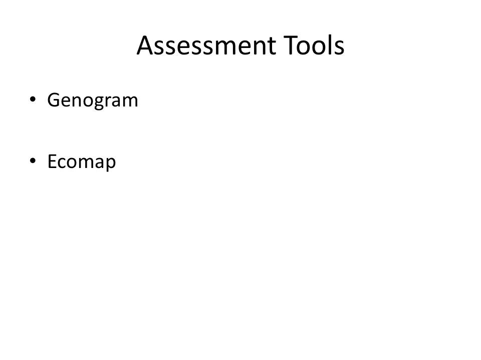 Assessment Tools Genogram Ecomap