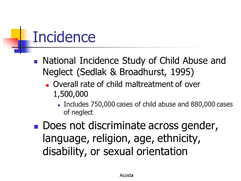 Incidence National Incidence Study of Child Abuse and Neglect (Sedlak & Broadhurst, 1995) Overall rate of child maltreatment of over 1,500,000.