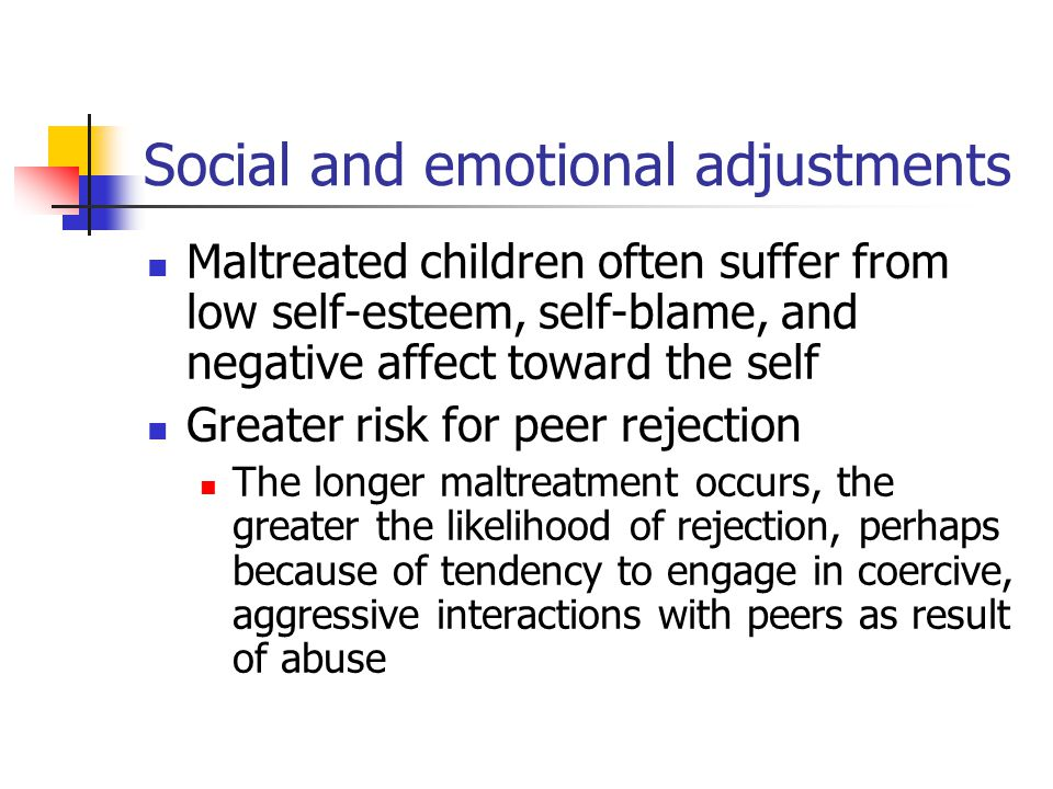 Social and emotional adjustments