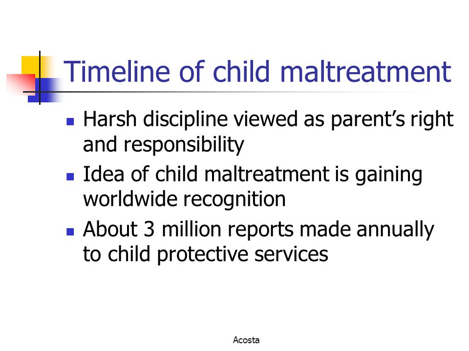 Timeline of child maltreatment