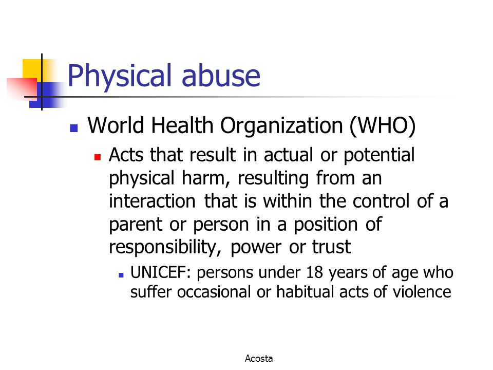 Physical abuse World Health Organization (WHO)