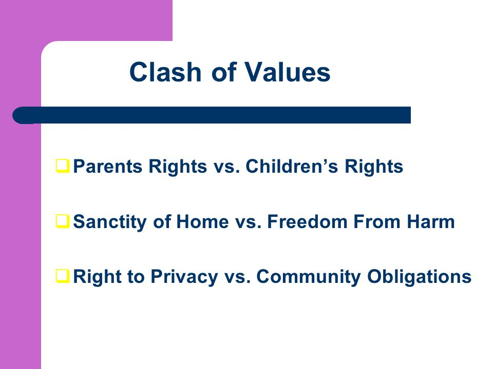 Clash of Values Parents Rights vs. Children's Rights