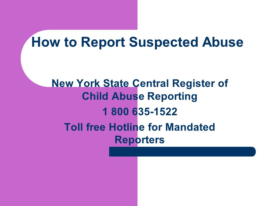 How to Report Suspected Abuse