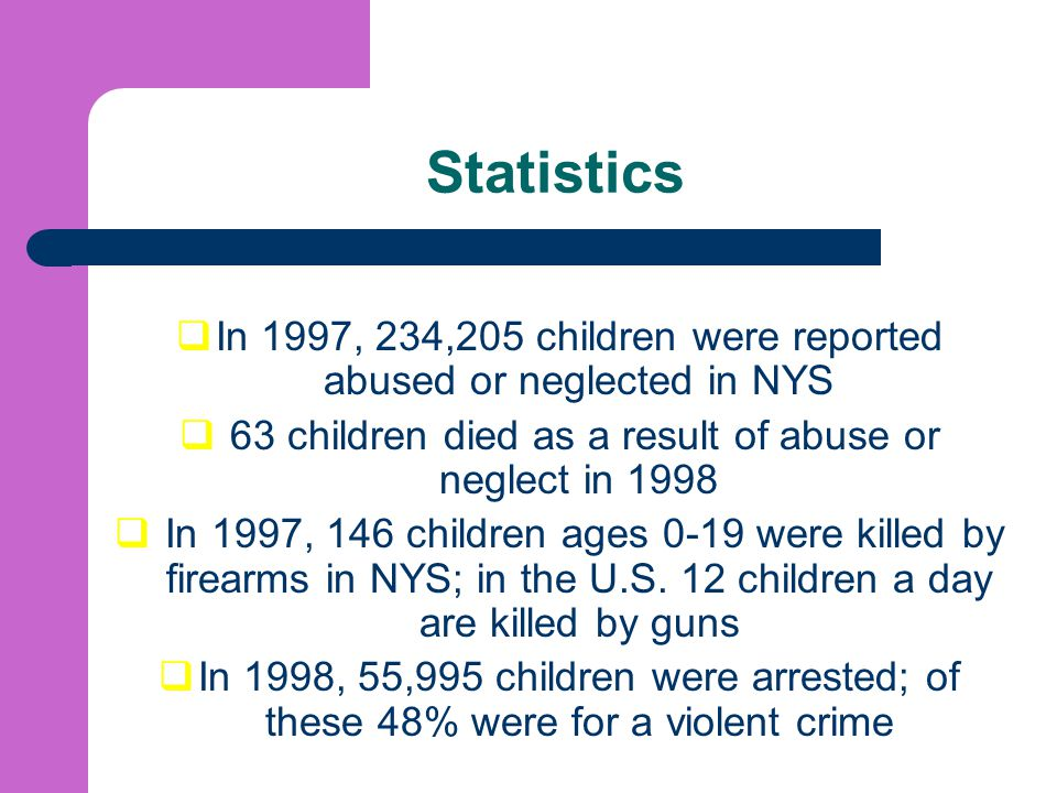 Statistics In 1997, 234,205 children were reported abused or neglected in NYS. 63 children died as a result of abuse or neglect in 1998.