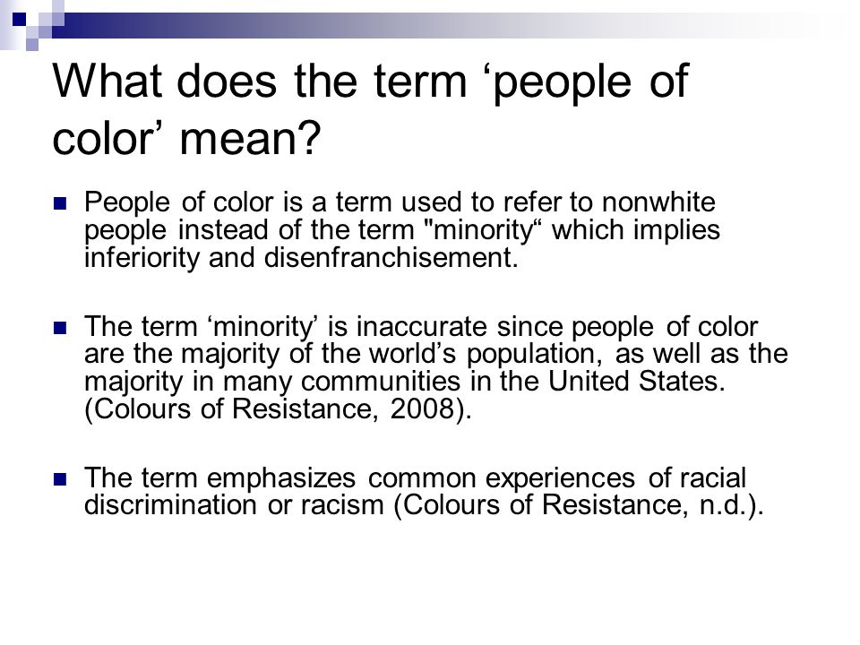 What does the term 'people of color' mean