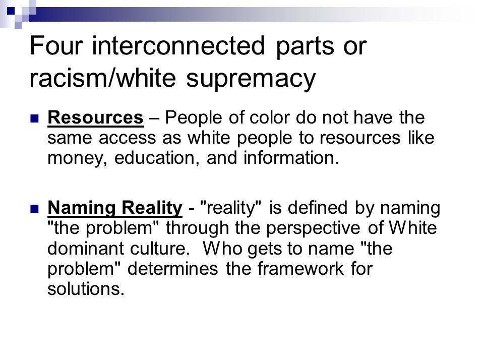 Four interconnected parts or racism/white supremacy