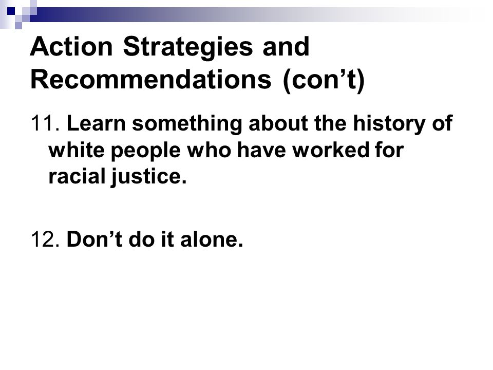 Action Strategies and Recommendations (con't)