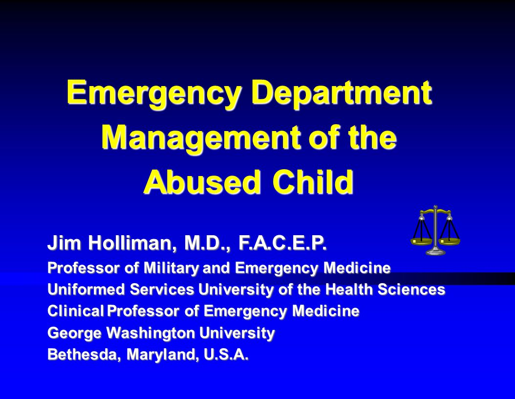 Emergency Department Management of the Abused Child