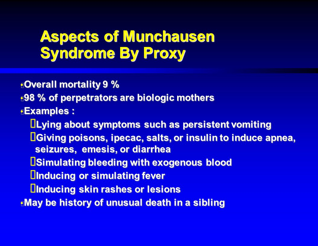 Aspects of Munchausen Syndrome By Proxy
