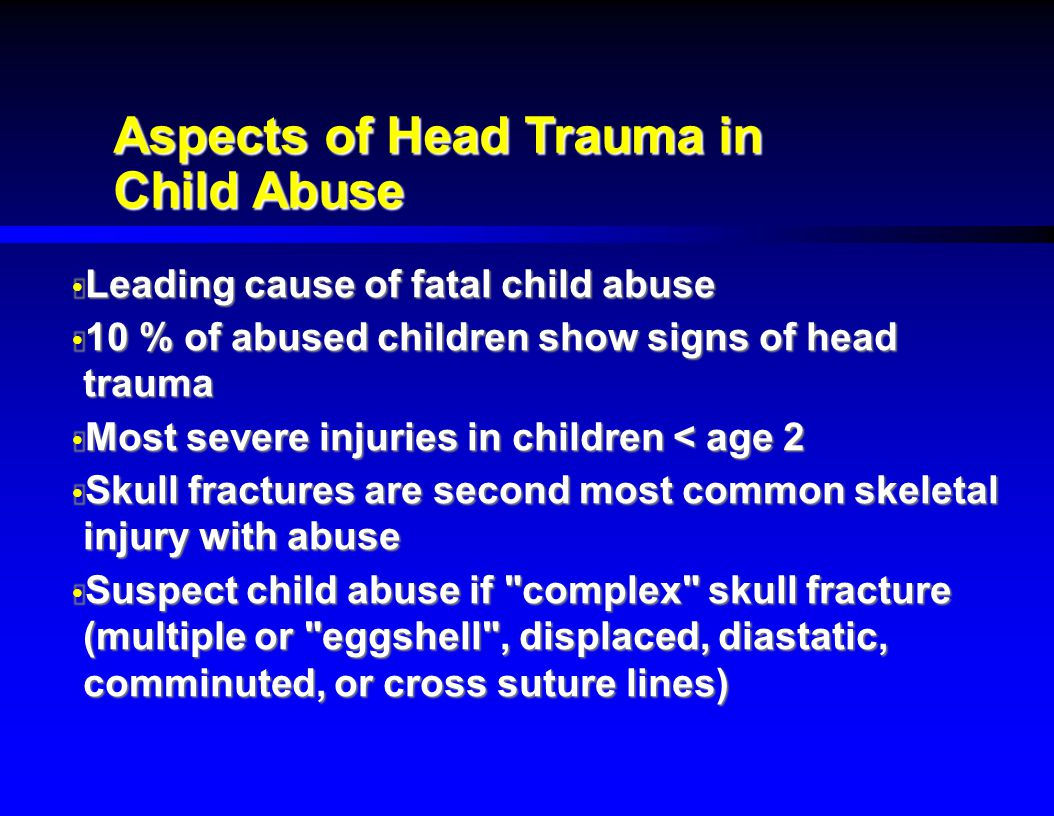 pediatric abusive head trauma essay Child abuse is a common diagnosis in the united states and should be considered any time neglect or emotional, physical, or sexual abuse is a possibility although.