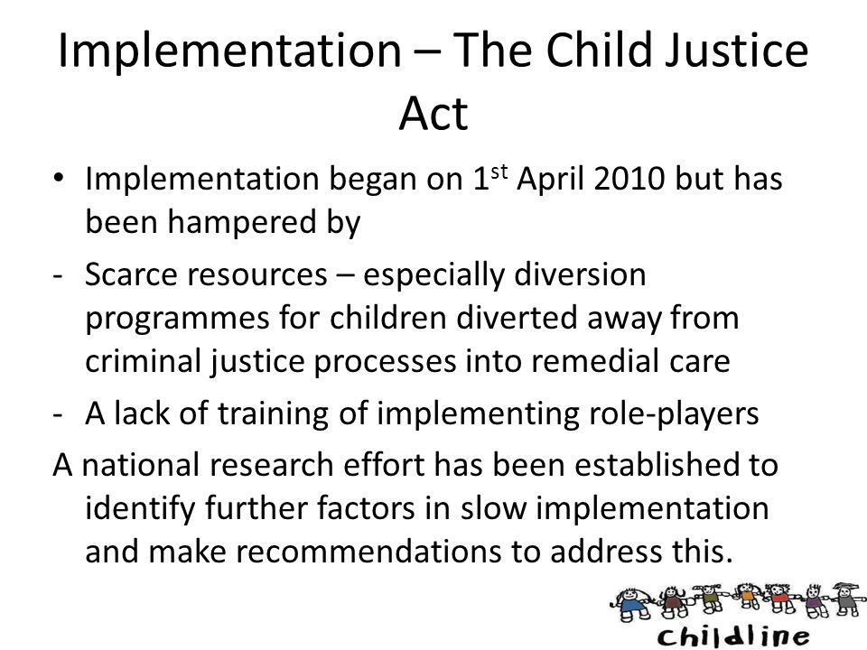 Implementation – The Child Justice Act