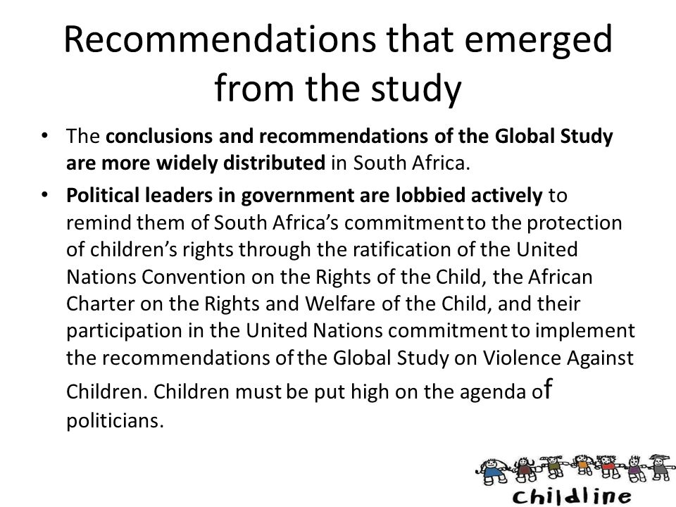 Recommendations that emerged from the study