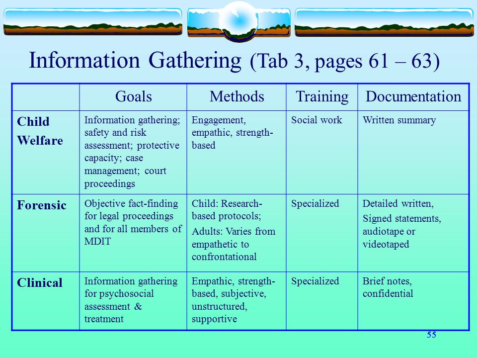 Information Gathering (Tab 3, pages 61 – 63)