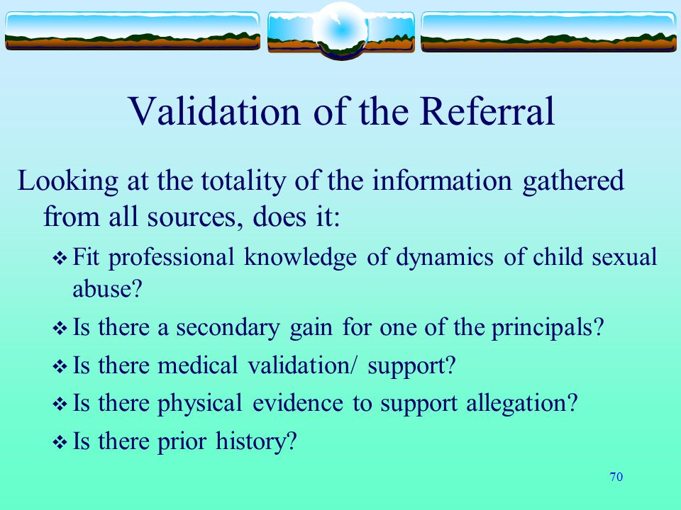 Validation of the Referral