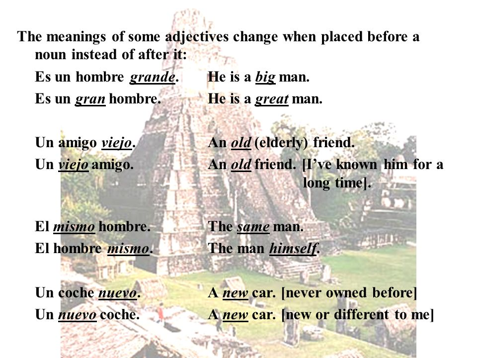 The meanings of some adjectives change when placed before a noun instead of after it: