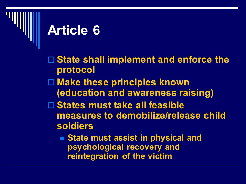 Article 6 State shall implement and enforce the protocol