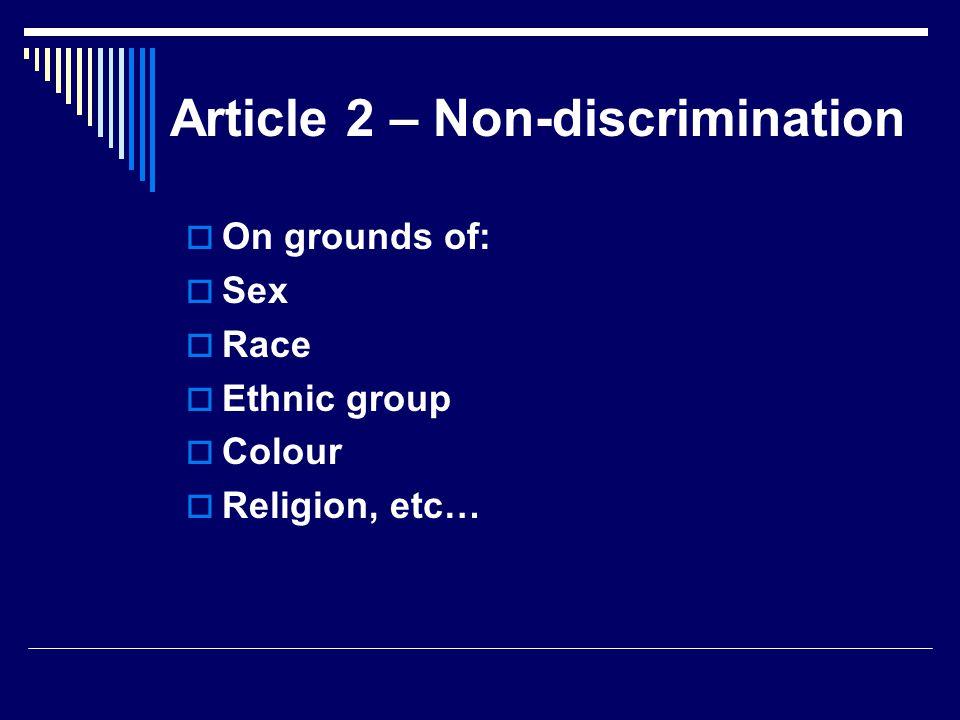 Article 2 – Non-discrimination