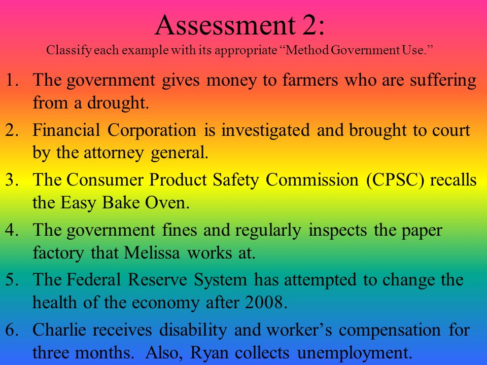 Assessment 2: Classify each example with its appropriate Method Government Use.