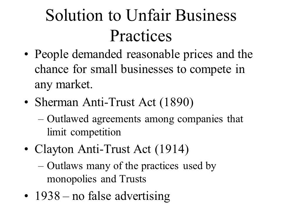 Solution to Unfair Business Practices