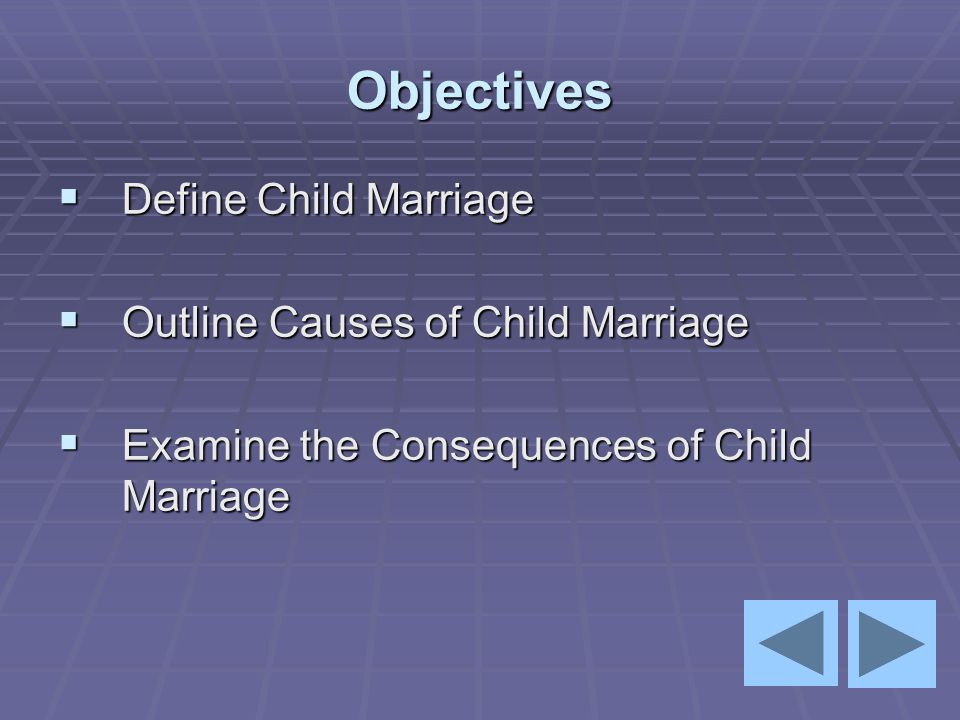 Objectives Define Child Marriage Outline Causes of Child Marriage