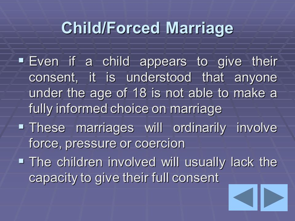 Child/Forced Marriage