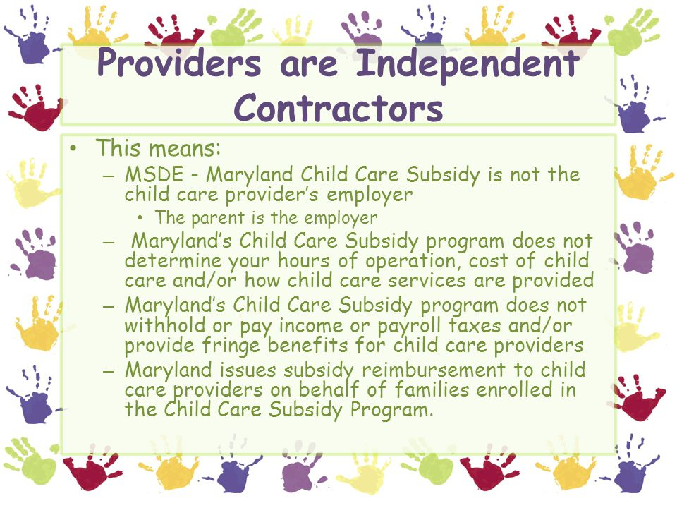 Providers are Independent Contractors