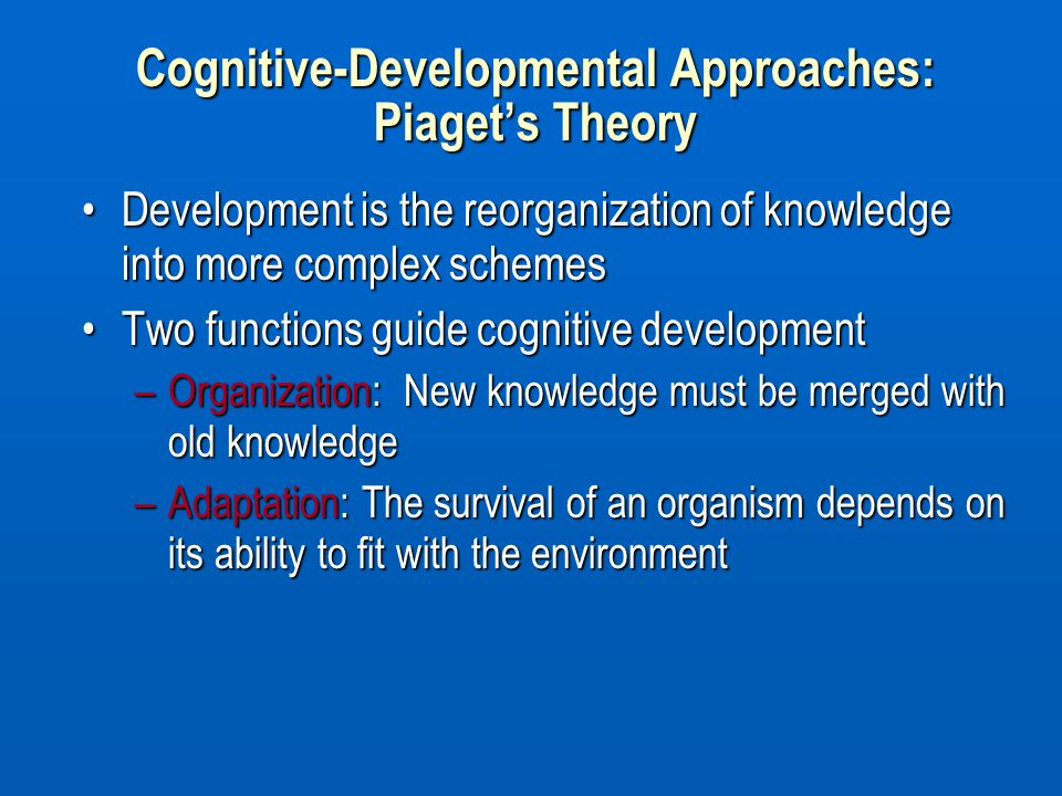Cognitive-Developmental Approaches: Piaget's Theory