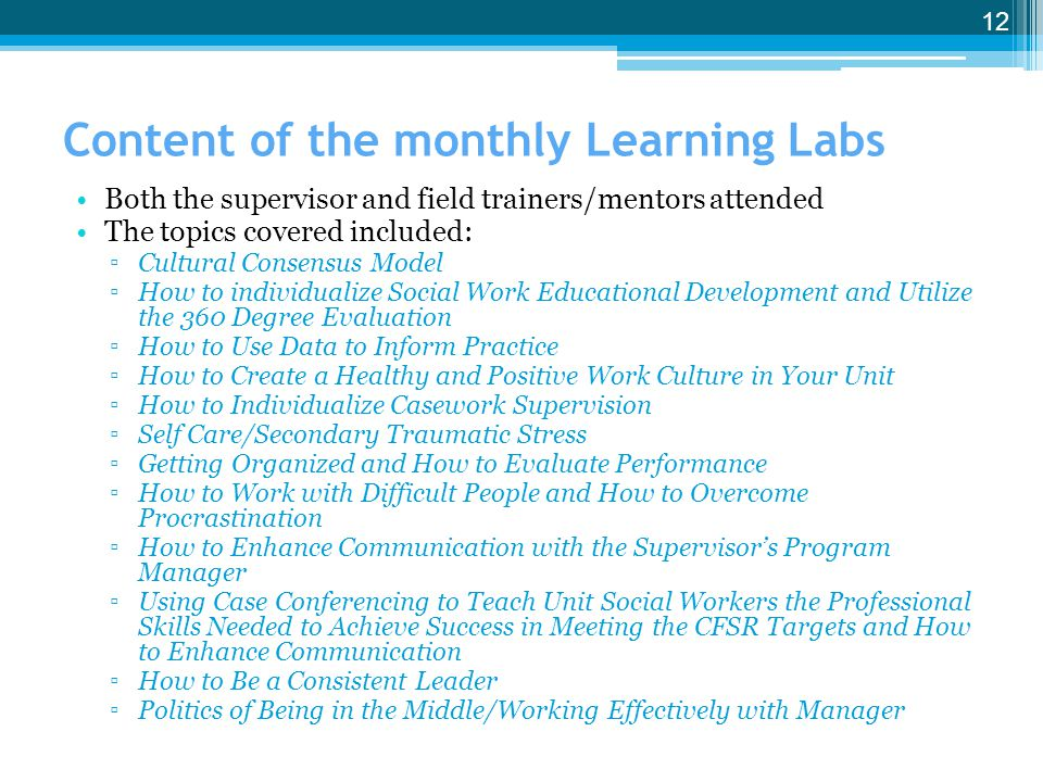 Content of the monthly Learning Labs