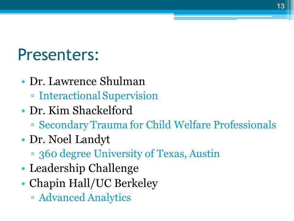 Presenters: Dr. Lawrence Shulman Dr. Kim Shackelford Dr. Noel Landyt