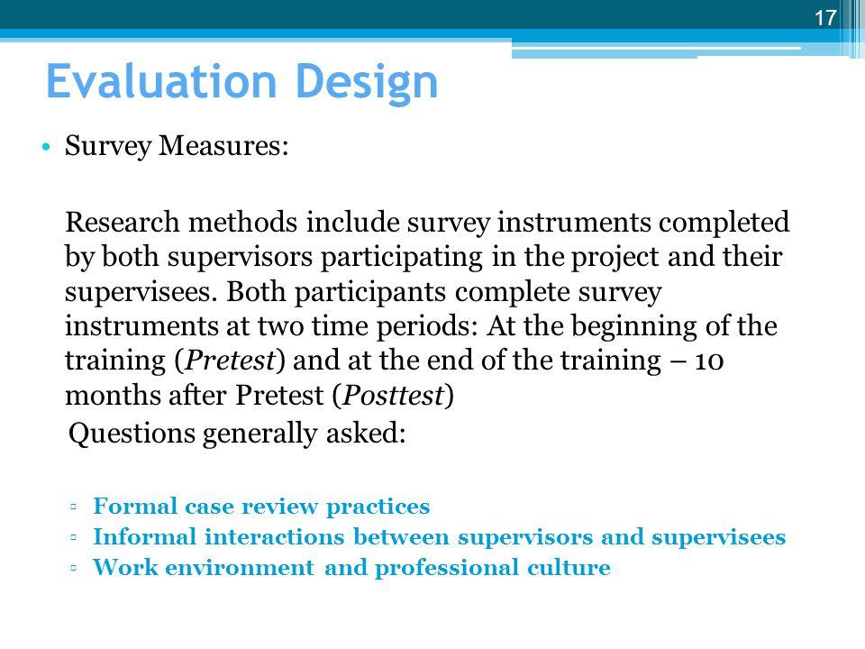 Evaluation Design Survey Measures: