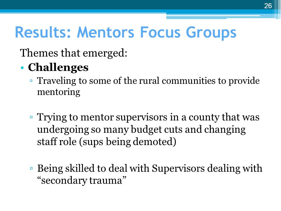 Results: Mentors Focus Groups