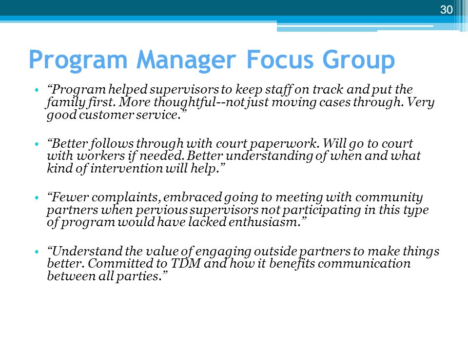Program Manager Focus Group