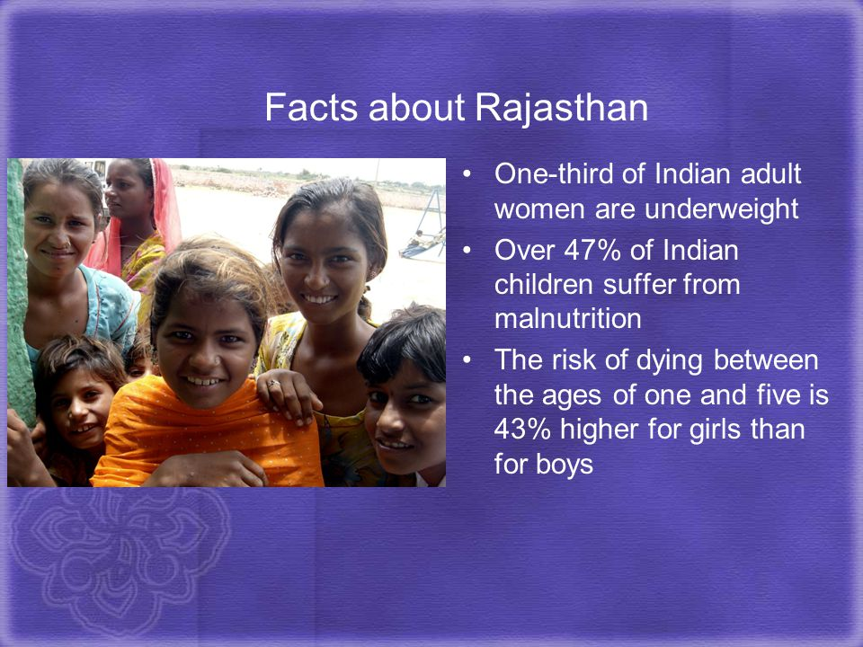 Facts about Rajasthan One-third of Indian adult women are underweight