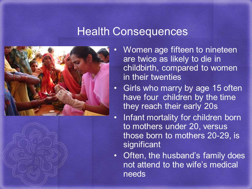 Health Consequences Women age fifteen to nineteen are twice as likely to die in childbirth, compared to women in their twenties.