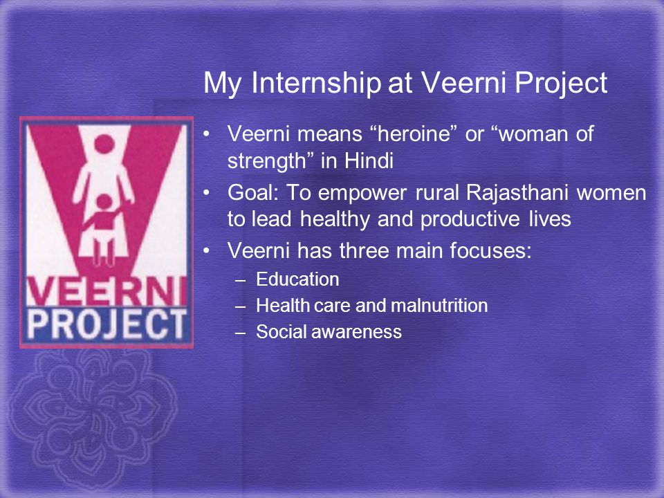 My Internship at Veerni Project