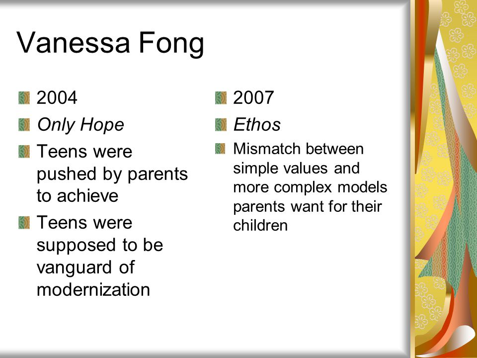 Vanessa Fong 2004 Only Hope Teens were pushed by parents to achieve